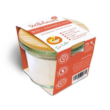 teethlovers Mandarine-Vanille-Kamille Bio-Zahnpulver für Kids im Glas mit Bambusdeckel