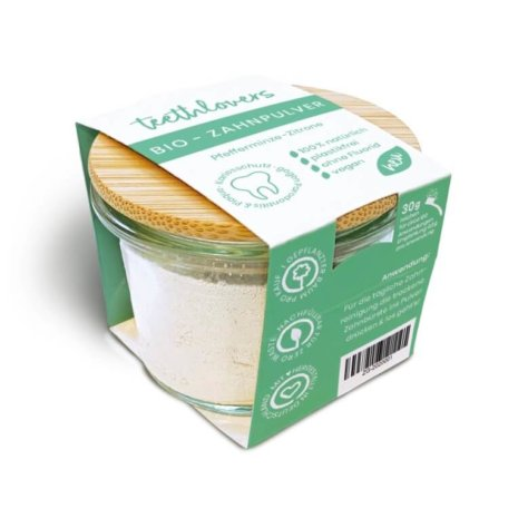teethlovers Pfefferminze-Zitrone Bio-Zahnpulver im Glas mit Bambusdeckel