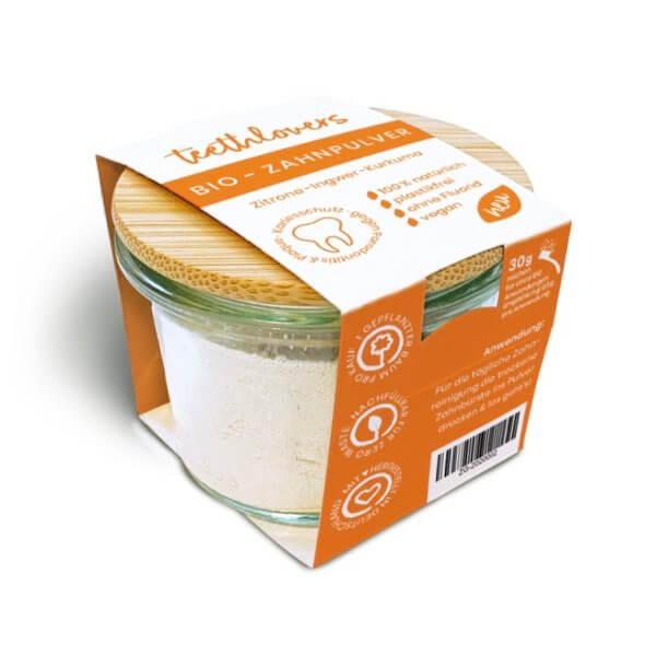 teethlovers Zitrone-Ingwer-Kurkuma Bio-Zahnpulver im Glas mit Bambusdeckel