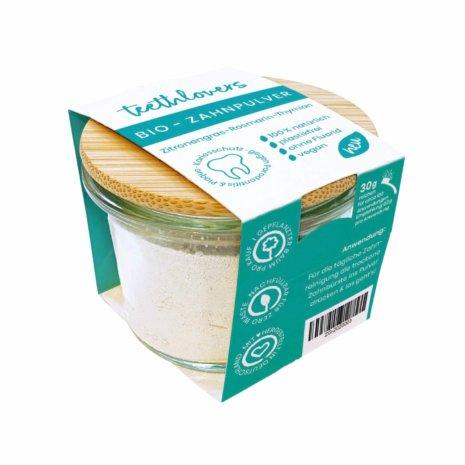 teethlovers Zitronengras-Rosmarin-Thymian Bio-Zahnpulver im Glas mit Bambusdeckel