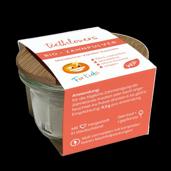 teethlovers Zahnpulver-Glas für Kids mit Papierbanderole umrundet