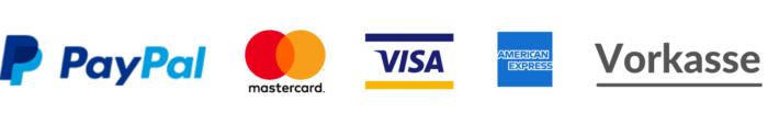 Paypal, Mastercard, Visa, American Express, Vorkasse
