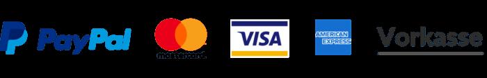 Bezahlbar mit Paypal, Mastercard, Visa, American Express und per Vorkasse