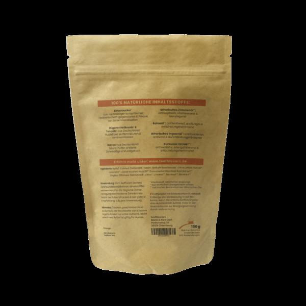 teethlovers kompostierbare Nachfüllpackung Zitrone-Ingwer-Kurkuma Rückseite