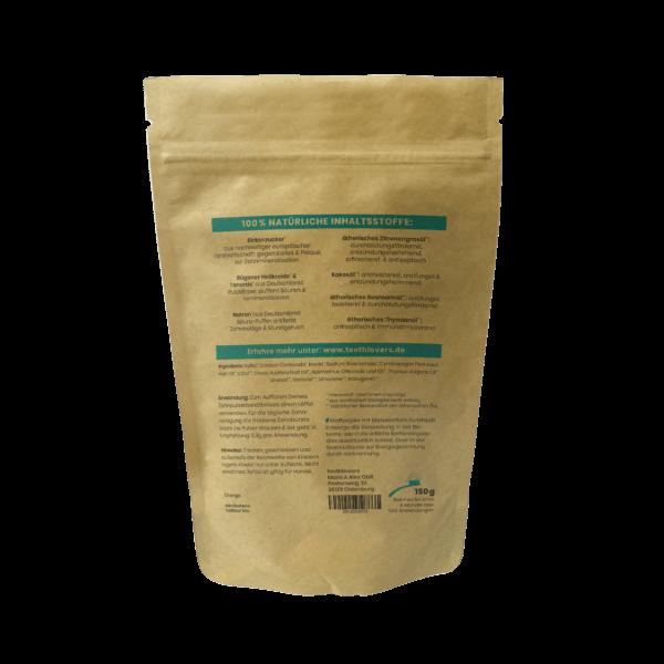 teethlovers kompostierbare Nachfüllpackung Zitronegras-Rosmarin-Thymian Rückseite