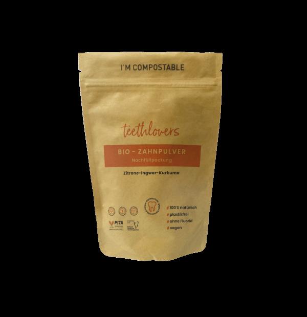 teethlovers kompostierbare Nachfüllpackung Zitrone-Ingwer-Kurkuma