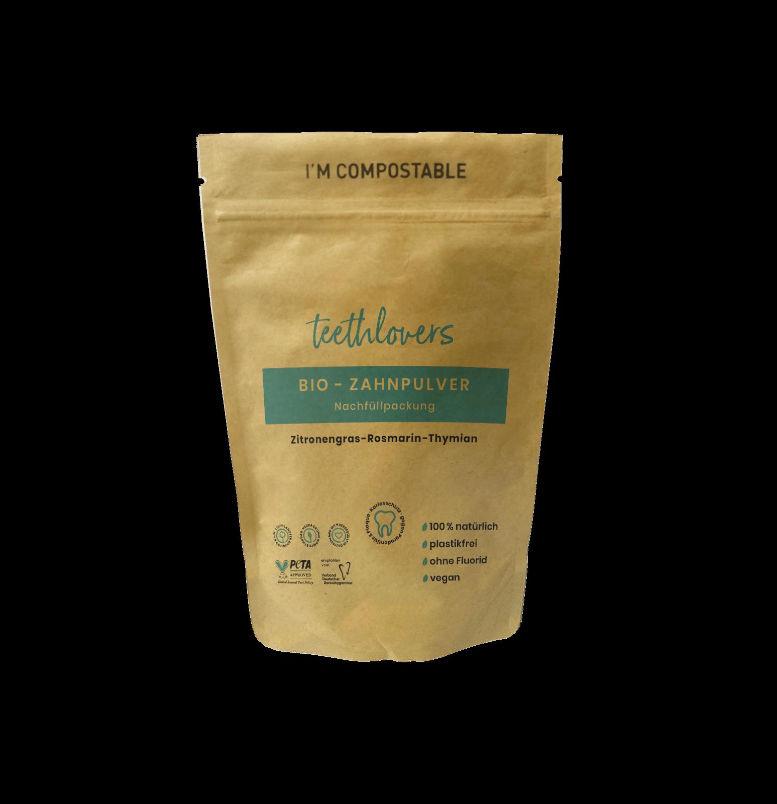 teethlovers kompostierbare Nachfüllpackung Zitronegras-Rosmarin-Thymian