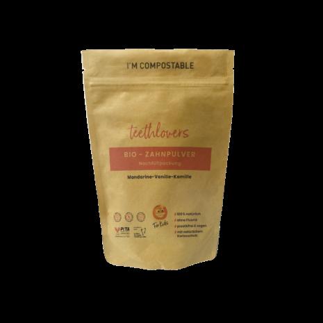 teethlovers kompostierbare Nachfüllpackung für Kids Mandarine-Vanille-Kamille