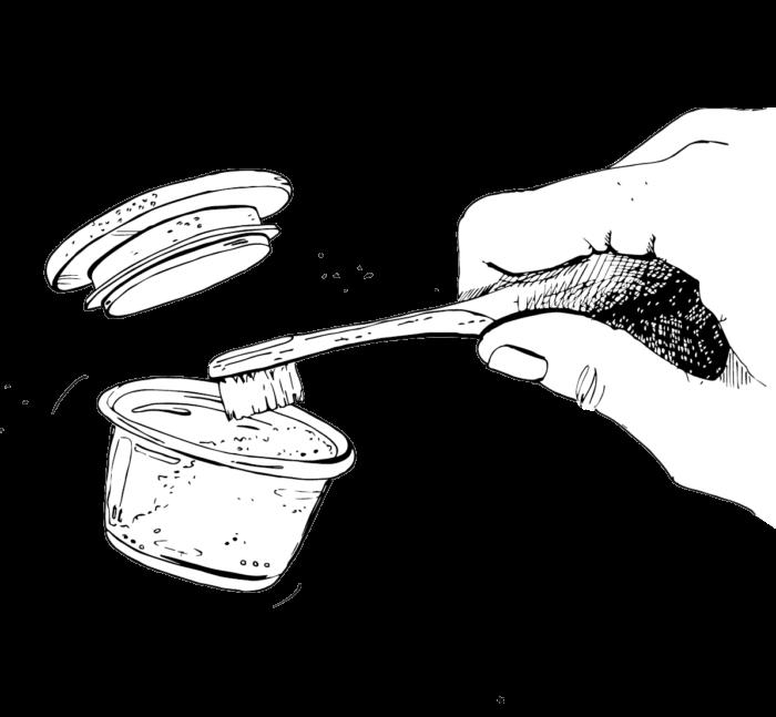 Zeichnung einer Hand, die mit den Borsten einer Bambuszahnbürste in das Zahnpulver drückt