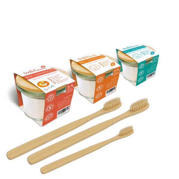 teethlovers Familien Set in 3 Geschmacksrichtungen mit Zahnbürsten