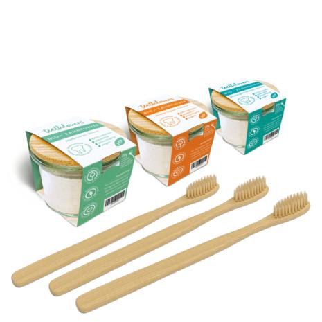 teethlovers WG-Set mit 3 Gläsern und Bambuszahnbürsten