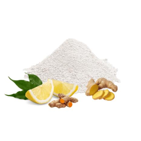 Zahnpulverhaufen mit Zitrone, Ingwer und Kurkuma