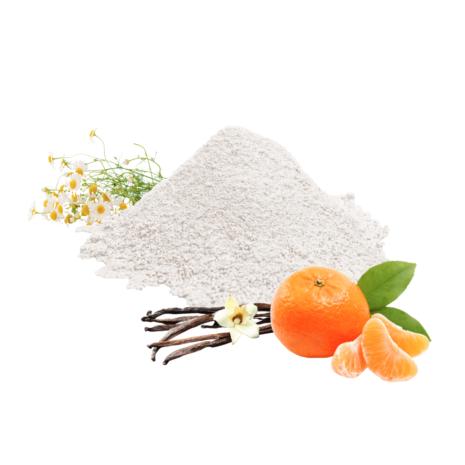 Zahnpulverhaufen mit Mandarine, Vanille und Kamille