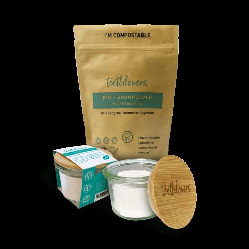 teethlovers Zitronengras-Rosmarin-Thymian Bio-Zahnpulver im Glas und Nachfüllpackung