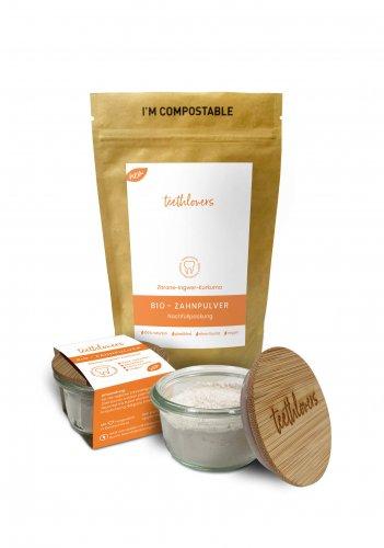 Produktgruppe teethlovers Bio-Zahnpulver Zitrone-Ingwer-Kurkuma Glas und Nachfüllpackung
